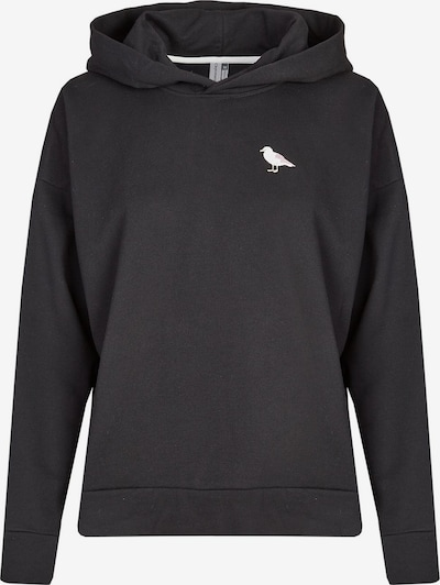 Cleptomanicx Hooded Embroidery Gull in schwarz, Produktansicht