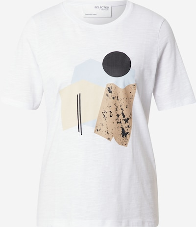 SELECTED FEMME T-shirt 'Nina' en crème / azur / noisette / noir / blanc, Vue avec produit