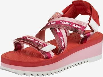 Tommy Jeans Sandalen 'Lurex Webbing' in Pink