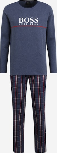BOSS Duga pidžama 'Dynamic' u noćno plava / golublje plava / crvena / bijela, Pregled proizvoda
