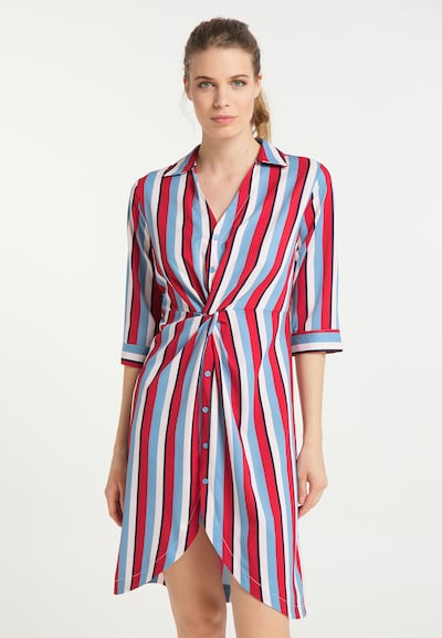 usha BLUE LABEL Hemdblusenkleid in himmelblau / rot / weiß, Modelansicht