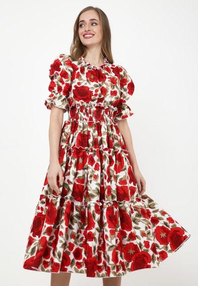 Madam-T Sommerkleid 'NARCISARA' in rot / weiß, Modelansicht