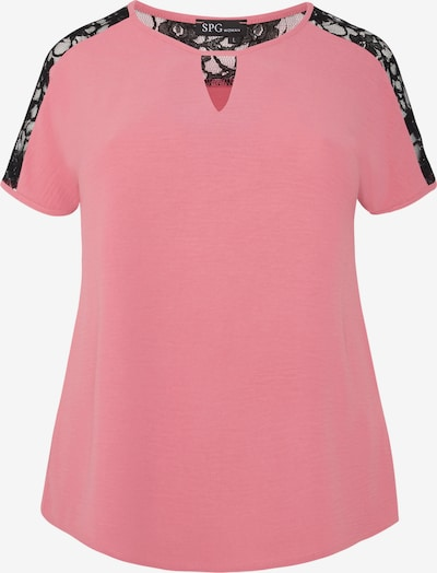 SPGWOMAN Kurzarmbluse in koralle / pink / schwarz, Produktansicht