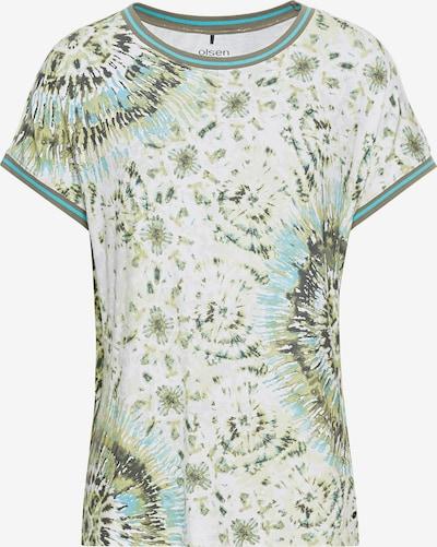 Olsen Shirt in grün / khaki / oliv / weiß, Produktansicht