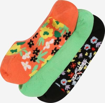 Happy Socks Socken  'Flower' in grün / orange / feuerrot / schwarz / weiß, Produktansicht