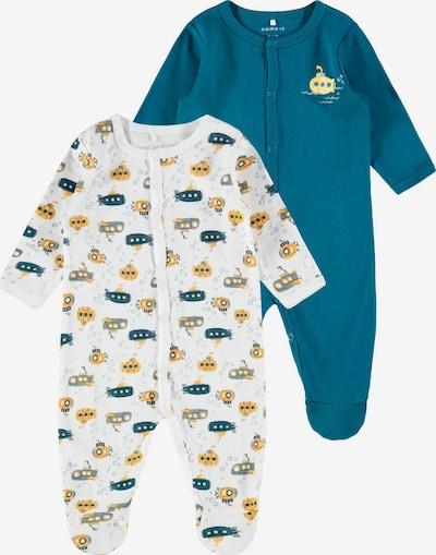 NAME IT Schlafanzug in pastellblau / goldgelb / grau / petrol / weiß, Produktansicht