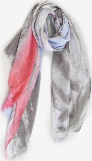 Emma & Kelly Schal mit modischen Fransen in himmelblau / grau / mischfarben / hellrot, Produktansicht