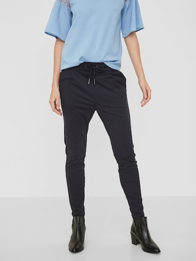 VERO MODA Bandplooibroek 'Eva' in de kleur Nachtblauw, Modelweergave