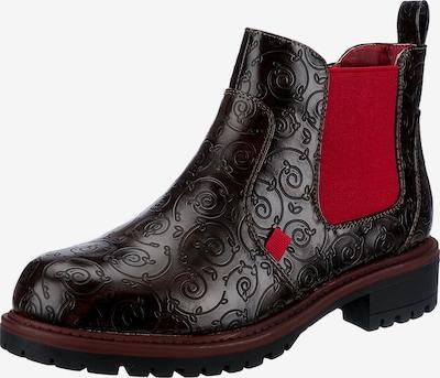 ambellis Chelsea Boots in dunkelbraun / rot, Produktansicht