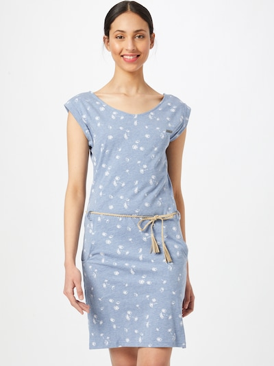 WLD Dress 'Luna City' in Smoke blue / White, View model