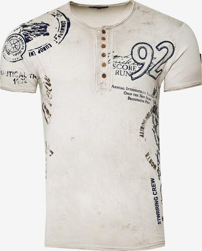 Rusty Neal T-Shirt mit Knopfleiste in beige: Frontalansicht