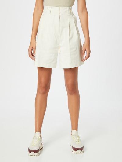 Pantaloni cutați 'Front Pleat' NU-IN pe alb, Vizualizare model