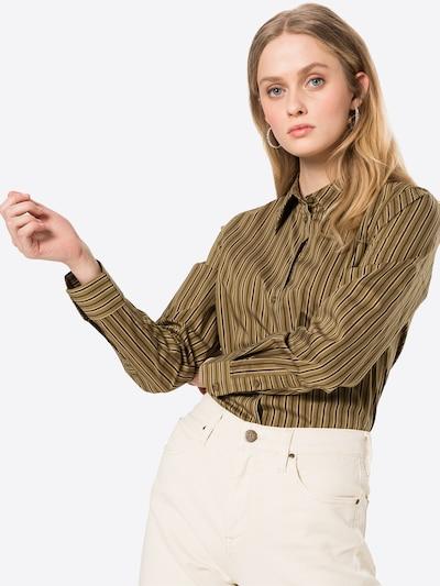 UNITED COLORS OF BENETTON Bluse in khaki / schwarz / weiß, Modelansicht