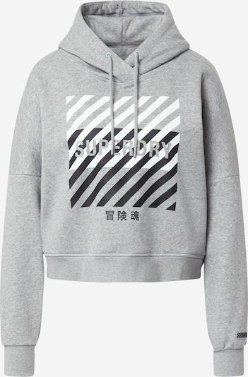 Superdry Спортен блузон с качулка в сив меланж / черно / бяло, Преглед на продукта