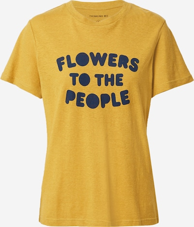 Thinking MU Shirt 'FLOWERS TO THE PEOPLE' in dunkelblau / senf, Produktansicht