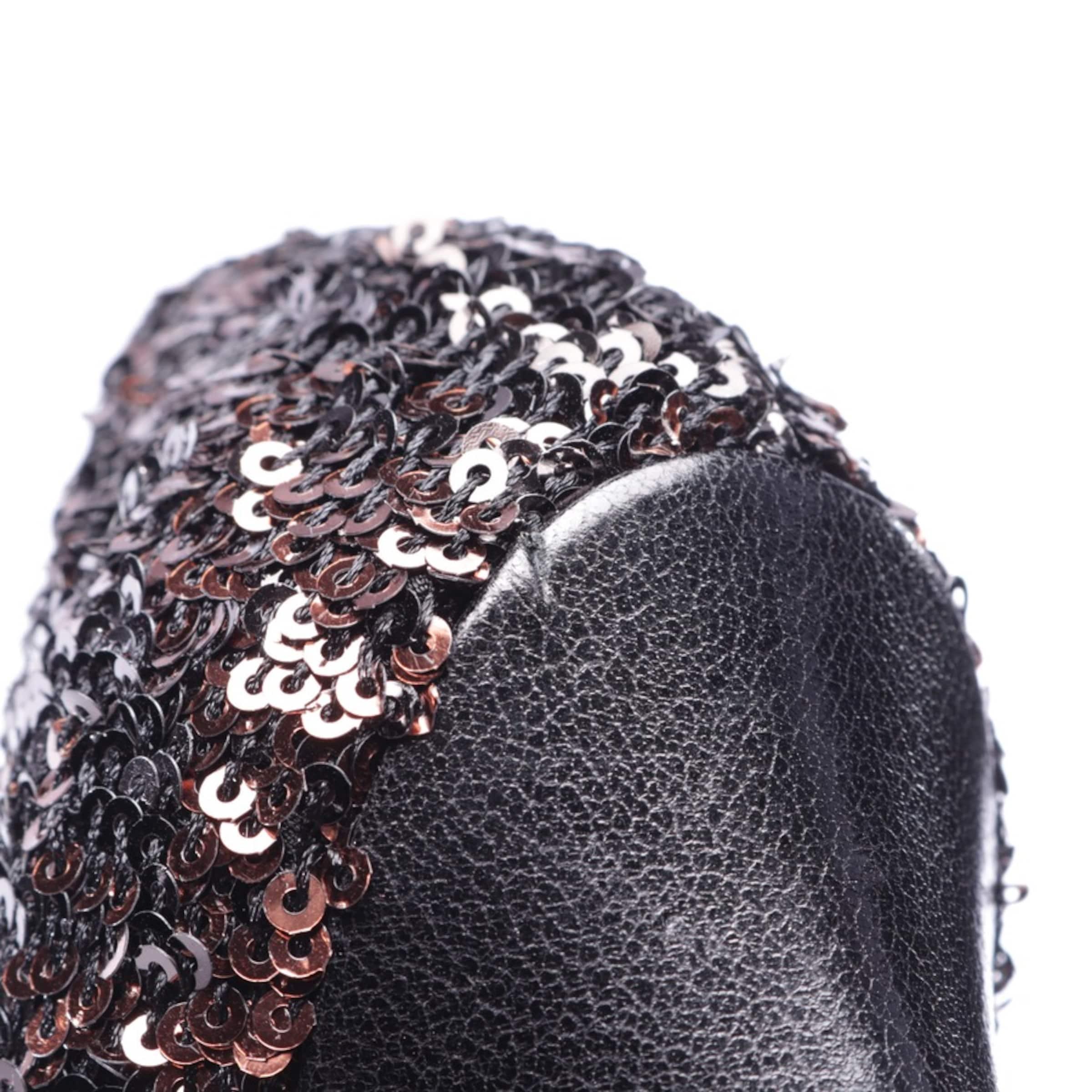 DOLCE & GABBANA Paillettenpumps in 38 in bronze / schwarz