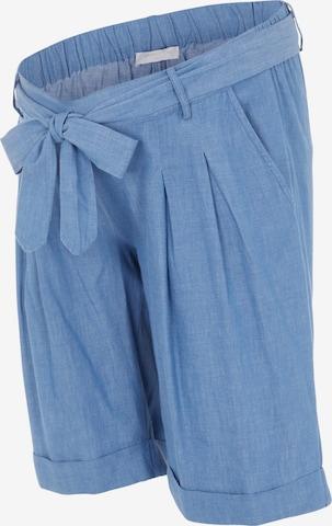 MAMALICIOUS Plissert bukse 'Milana' i blå