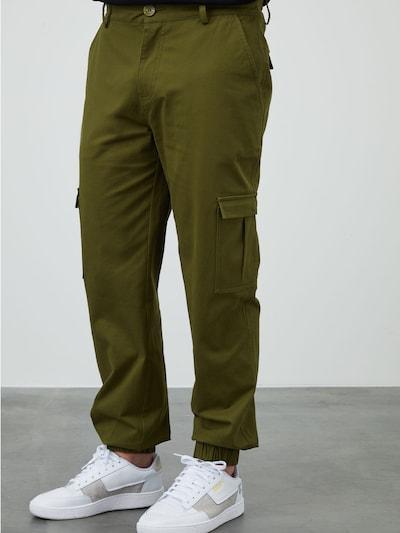 DAN FOX APPAREL Pantalon cargo 'Damon' en kaki, Vue avec modèle