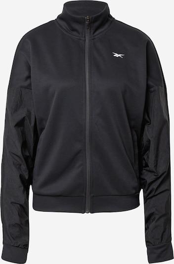 Bluză cu fermoar sport Reebok Sport pe negru / alb, Vizualizare produs