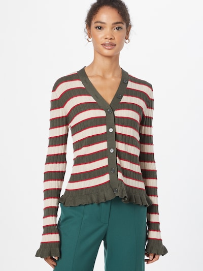 MAX&Co. Плетена жилетка 'SABATO' в кремаво / тъмнозелено / червено, Преглед на модела