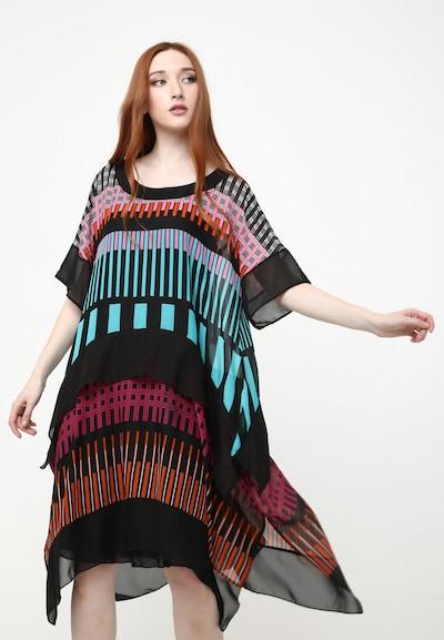 Madam-T Kleid 'Diksi' in mint / pink / schwarz, Modelansicht