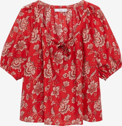MANGO Блуза 'CALABASA' в светлокафяво / розе / червено / бяло, Преглед на продукта