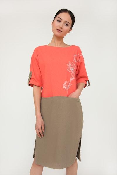 Finn Flare Kleid mit zweifarbigem Design in braun / koralle, Modelansicht
