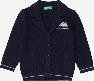 UNITED COLORS OF BENETTON Strickjacke in navy / weiß, Produktansicht