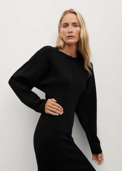 MANGO Pletené šaty 'Skins' - čierna, Model/-ka