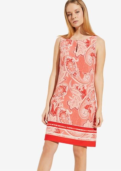 COMMA Kleid in beige / orange / rot / weiß: Frontalansicht