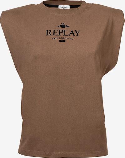 REPLAY T-Shirt in braun / weiß, Produktansicht