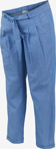 MAMALICIOUS Pleat-Front Pants 'Milana' in Blue