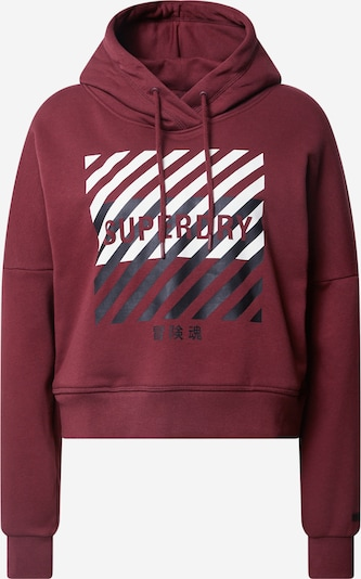 Superdry Sportsweatshirt in weinrot / schwarz / weiß, Produktansicht