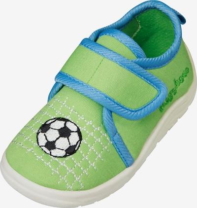 PLAYSHOES Pantoufle 'Fußball' en bleu / vert / noir / blanc, Vue avec produit