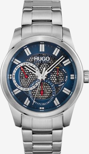 HUGO Armbanduhr in blau / rot / schwarz / silber / weiß, Produktansicht