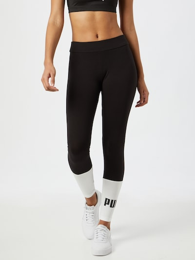 PUMA Leggings 'Essentials+' in schwarz / weiß, Modelansicht