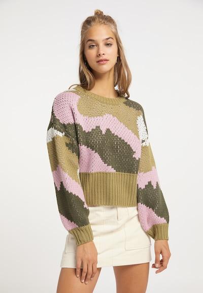 MYMO Pullover in khaki / oliv / rosa / weiß, Modelansicht