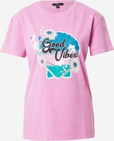 Mavi T-Shirt 'Good Vibes' in royalblau / cyanblau / pink / weiß, Produktansicht