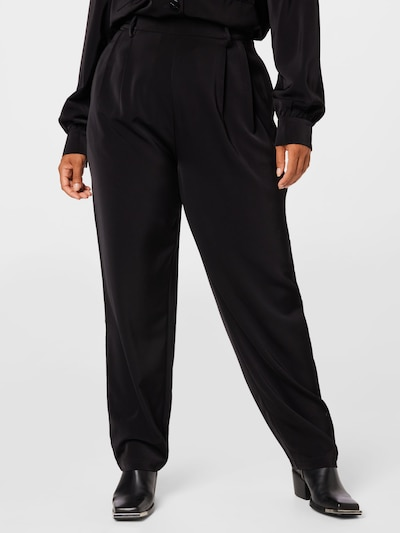 Guido Maria Kretschmer Curvy Collection Pleat-Front Pants 'Jasmin' in Black, View model