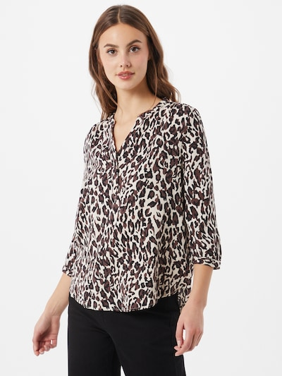 Bluză 'Baya' OBJECT pe crem / maro / negru, Vizualizare model