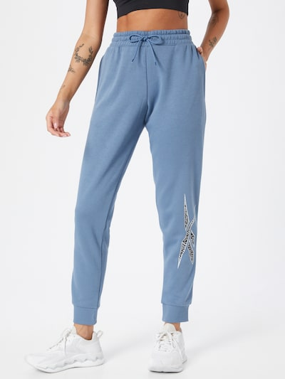 Pantaloni sport Reebok Sport pe albastru fumuriu / negru / alb, Vizualizare model