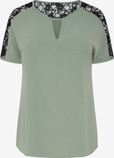 SPGWOMAN Kurzarmbluse in braun / grün / khaki, Produktansicht