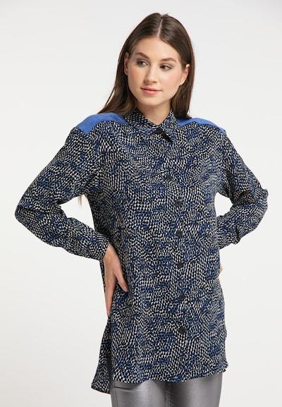 MYMO Bluse in beige / blau / schwarz, Modelansicht