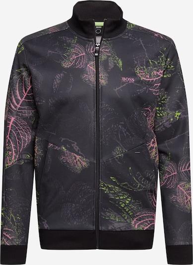 BOSS ATHLEISURE Sweatjacke 'Skarley' in grasgrün / rosa / schwarz, Produktansicht