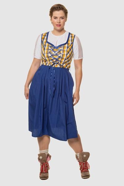 Ulla Popken Dirndl    723140 in blau / gelb / mischfarben, Modelansicht
