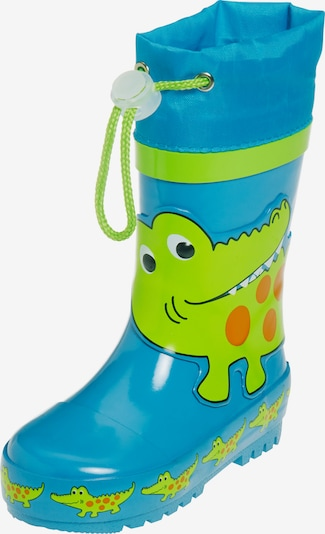 PLAYSHOES Bottes en caoutchouc 'Krokodil' en bleu / vert clair / orange foncé, Vue avec produit