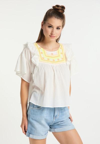 MYMO Bluse in gelb / flieder / orange / weiß, Modelansicht
