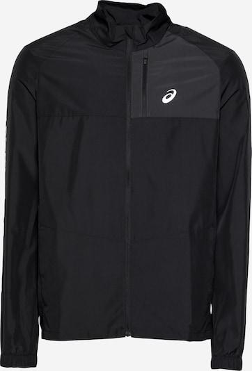ASICS Sportjacke 'SMSB RUN JACKET' in schwarz / weiß, Produktansicht