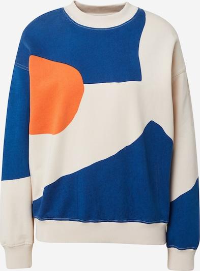 Bluză de molton Thinking MU pe crem / azuriu / portocaliu deschis, Vizualizare produs