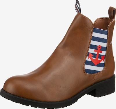 Inselhauptstadt Chelsea Boots in navy / cognac / rot / weiß, Produktansicht